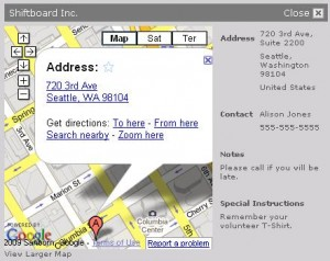 Maps & Locations - Example Shiftboard Organization