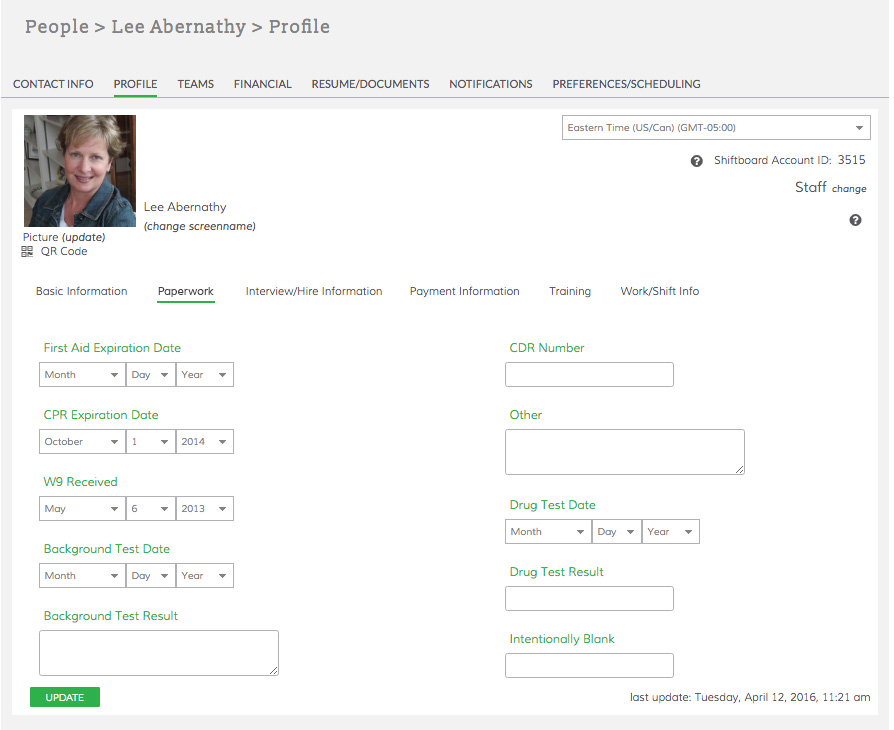 Healthcare Staff Profile in Shiftboard
