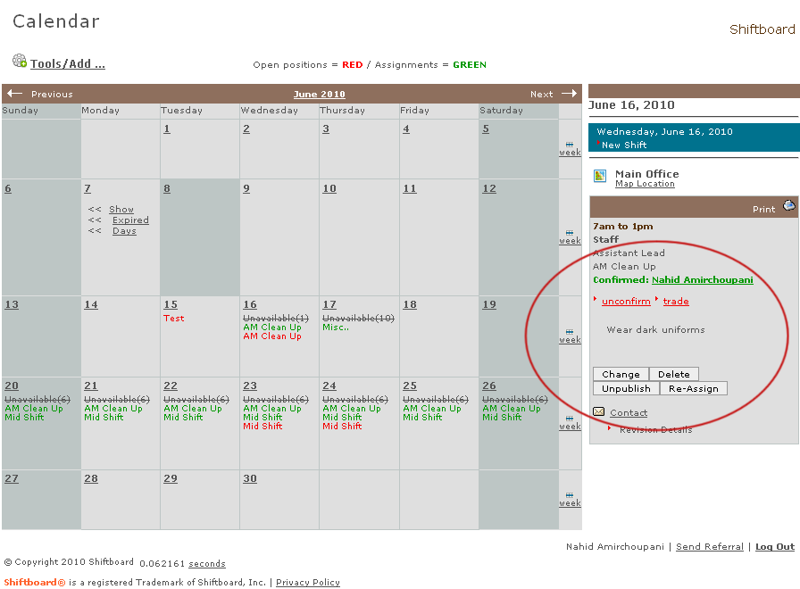 Shiftboard retail employee scheduling software in web browser calendar view