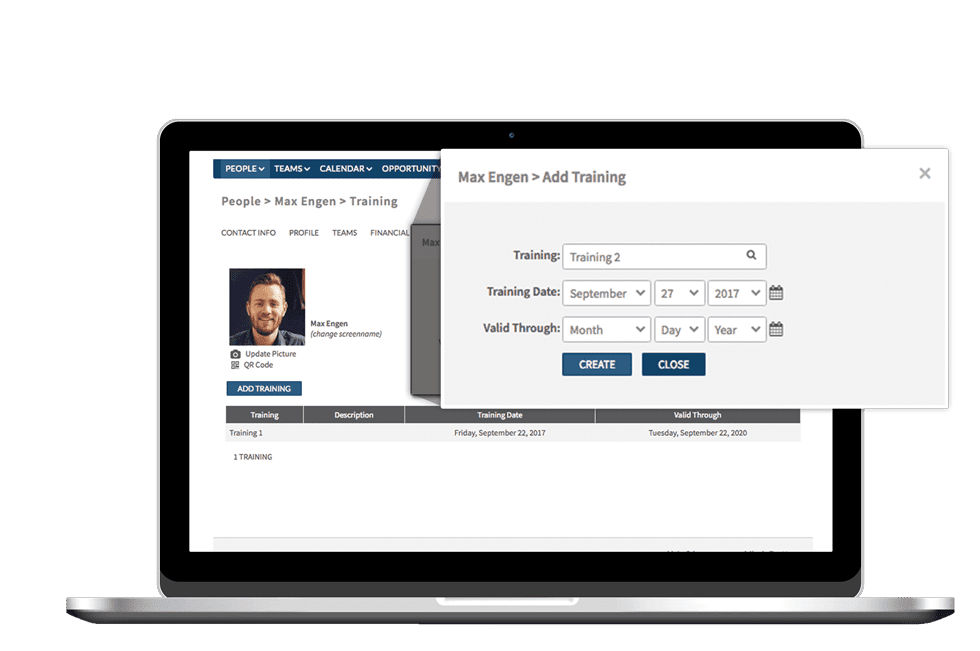 Training status is integrated with the applicant tracking system, shown within Shiftboard