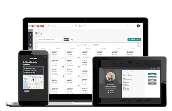 Shiftboard's employee scheduling app on devices