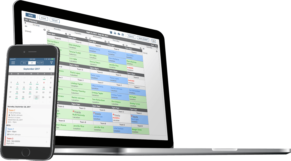 Employee scheduling software displayed on laptop and mobile