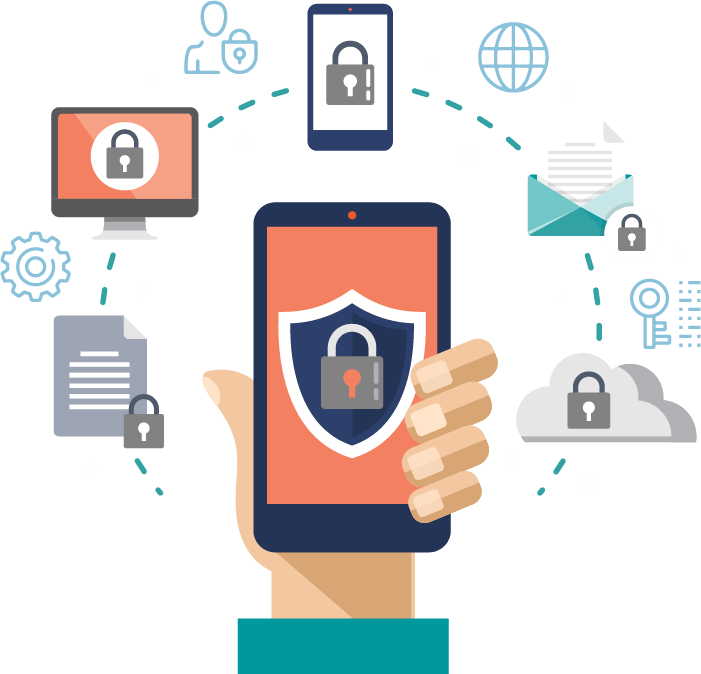 Secure information on a mobile device, representing mobile application security