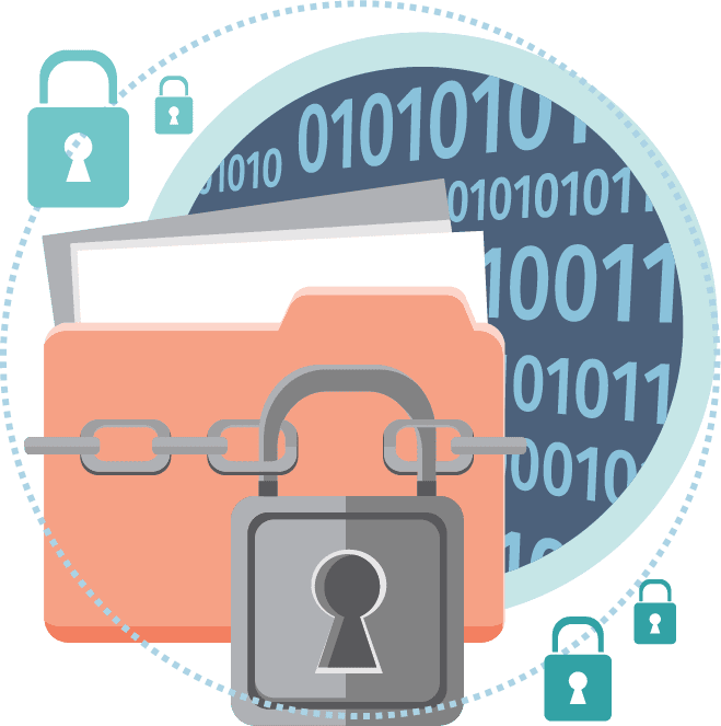 Lock and key around sensitive information files, representing encryption