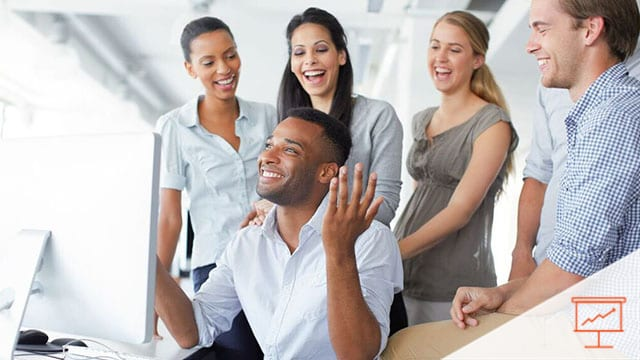 People laughing in an office