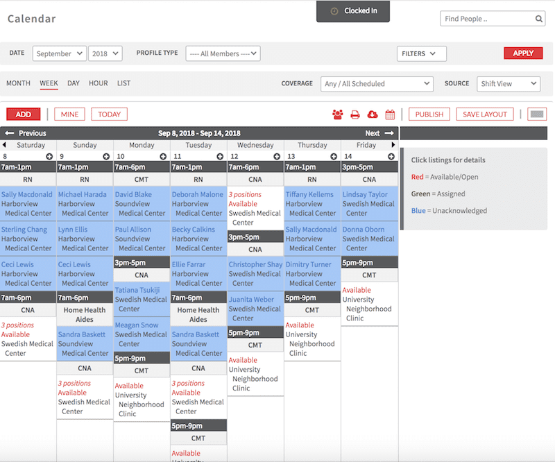 Preview of Online Nurse Scheduling Software in Shiftboard