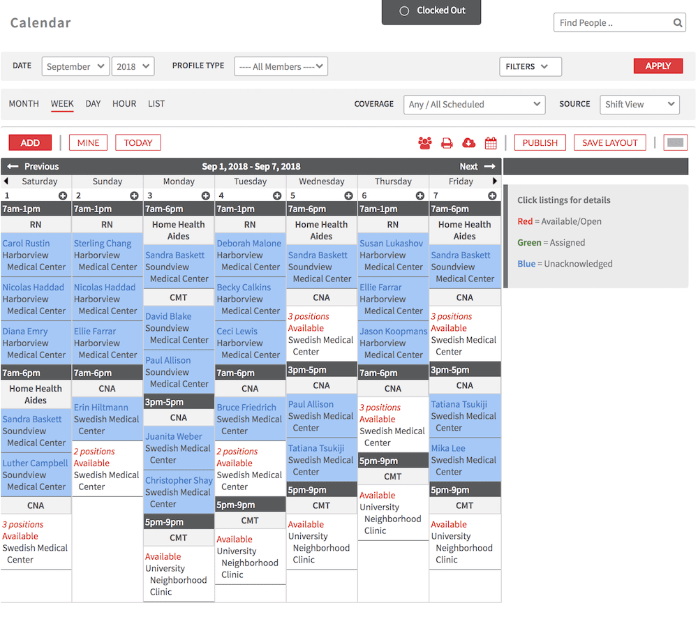 Shiftboard's logistics scheduling software calendar feature