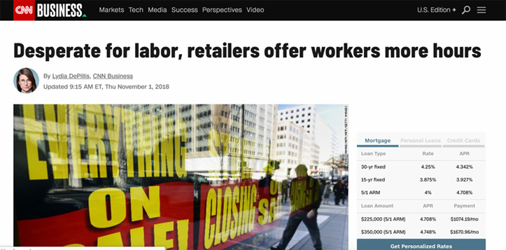 Retailers Offer Workers More Hours