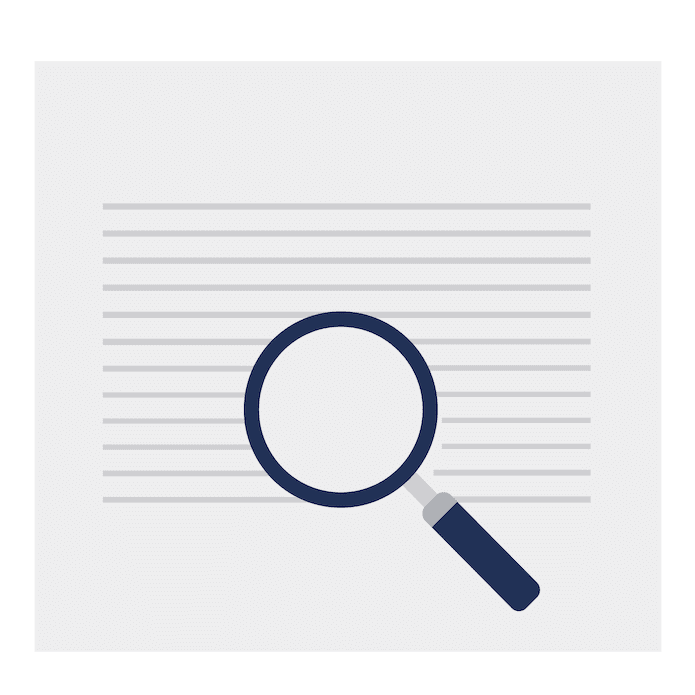 Tracking & Reporting magnifying glass icon