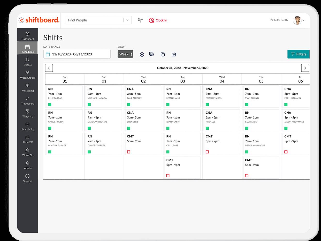 Schedule Flex Teams Screen